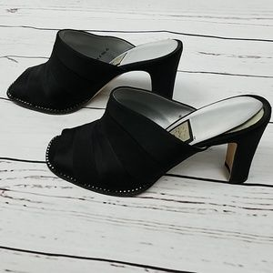 Cute Black Heels with Silver Accents